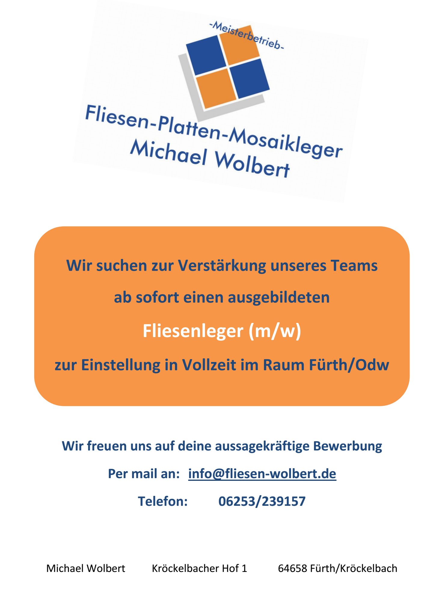 Fliesenleger gesucht  Fliesenleger gesucht